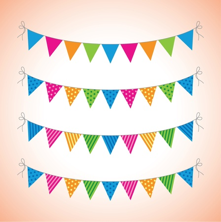 a set of four lines of bunting Vector