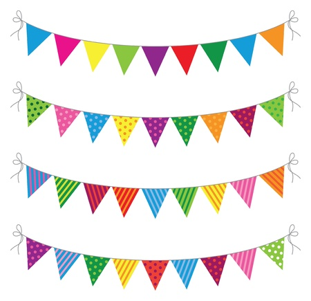 a set of four lines of bunting Stock Vector - 18989058