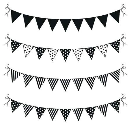 polka dots: a set of four lines of bunting
