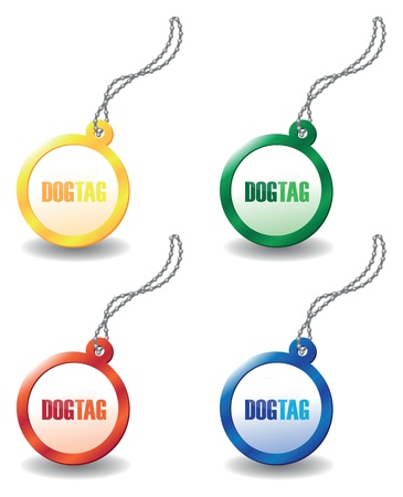 blank metallic identification plate: set of colourful dog tags