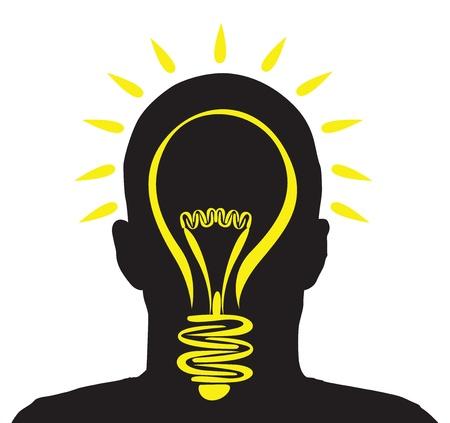 a man with a lightbulb idea Vector