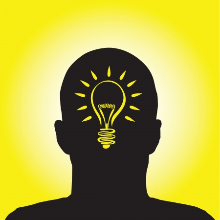 a man with a lightbulb idea Vector