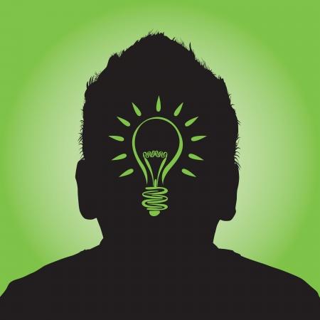 invent: a man with a lightbulb idea