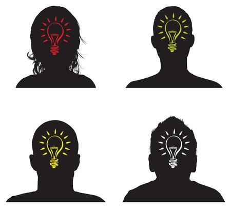 lightbulb idea: un uomo con un idea insieme lampadina