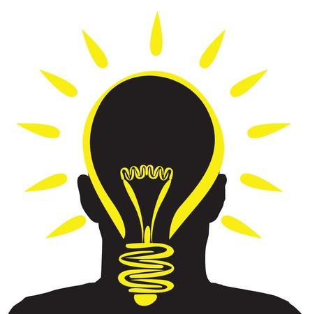 lightbulb idea: un uomo con una lampadina idea