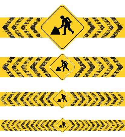 constructing a website black and yellow banners Vector