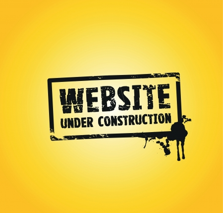 building construction site: a website building splash stamp in black