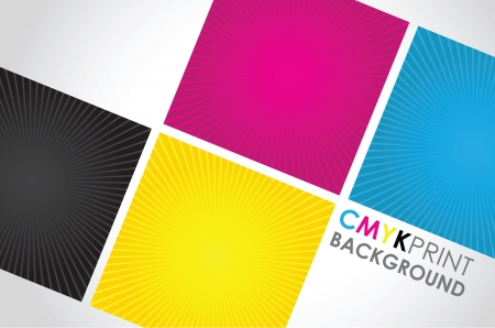 cmyk abstract: a set of three cmyk spiral boxes