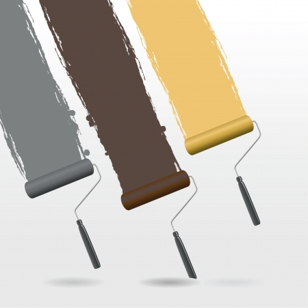 tints: a set of three paint rollers background Illustration