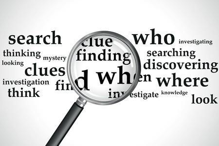 murder: a magnifying glass over a selection of words