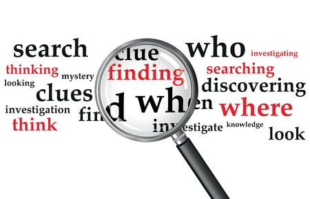 investigating: a magnifying glass over a selection of words