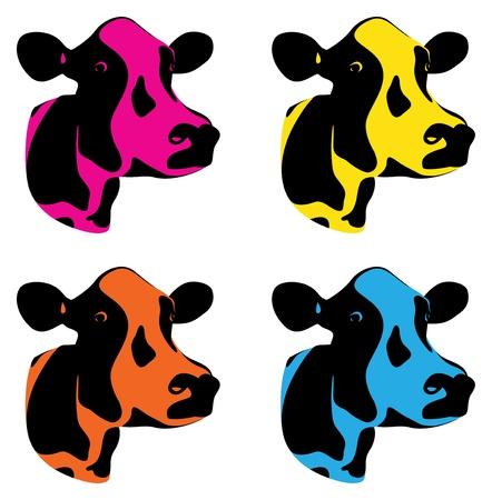vacas lecheras: un conjunto de tres cabezas de vaca de colores
