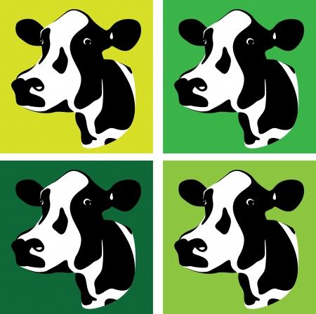 vacas lecheras: un conjunto de tres cabezas de vaca verdes