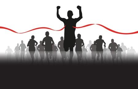 course � pied: un groupe de coureurs � venir � travers le ruban rouge Illustration