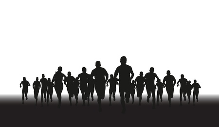 group fitness: a silhouette of a group of runners