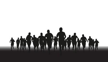 maraton: una silueta de un grupo de corredores