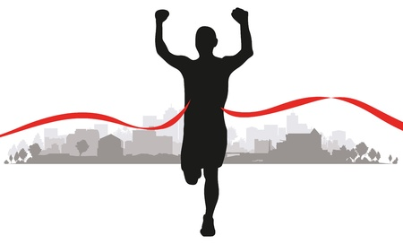 a runner coming to the line through a cityscape background Vector
