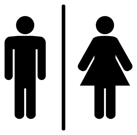 public restroom: a man and a lady toilet sign