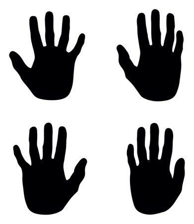 a set of black abstract hand silhouettes Vector