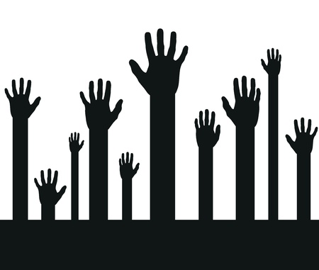 grabbing: a set of black abstract hand silhouettes