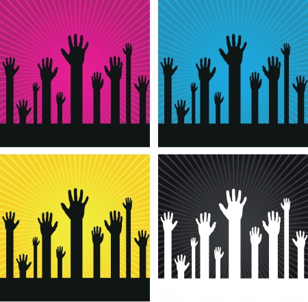 hold up: a set of abstract hand silhouettes o spiral backgrounds Illustration