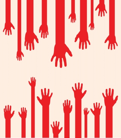 grabbing: a set of red abstract hand silhouettes Illustration
