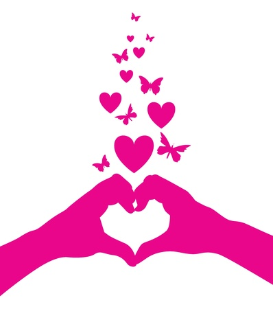 butterfly silhouette: love heart hands