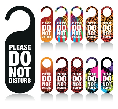 do not disturb: a set of please do not disturb signs Illustration