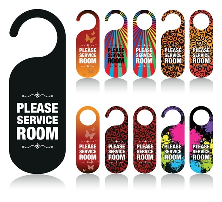 a set of please service my room signs Vector