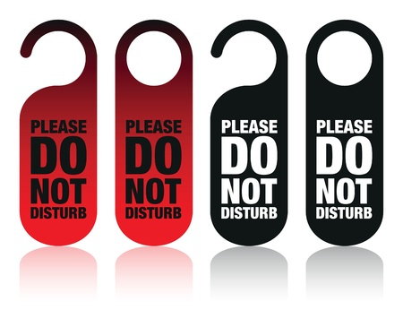 quiet room: a set of please do not disturb signs Illustration