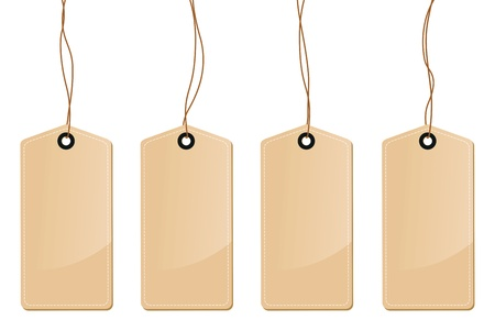 a set of four brown tag labels Vector