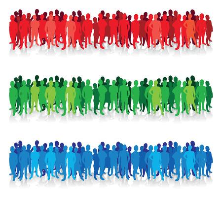 peuple coloré silhouette lignes de fond Illustration
