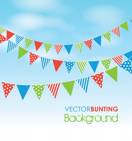 flags: coloured bunting on a sky background Illustration