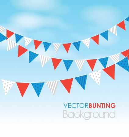 coloured bunting on a sky background Ilustrace