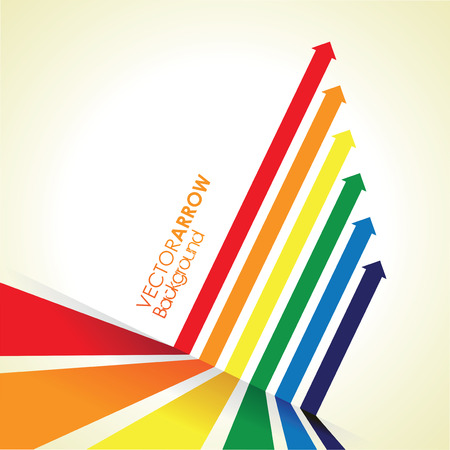 a rainbow coloured arrow line perspective background Vector