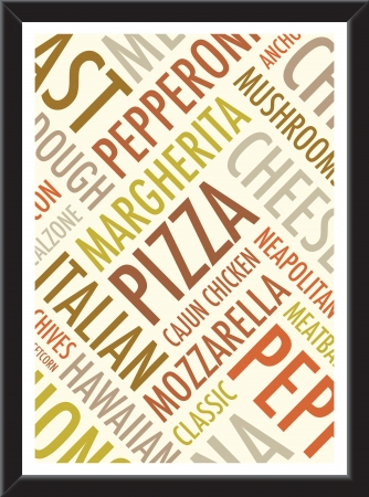 a4 pizza background on a black frame Vector