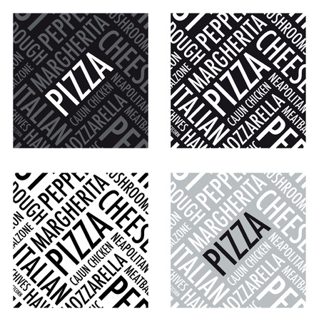 a square pizza background in black and white Vector