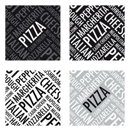 mozzarelle e formaggi: un fondo di pizza quadrato in bianco e nero