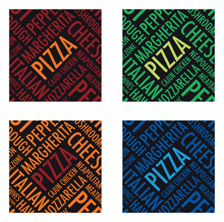 a square pizza background set Vector