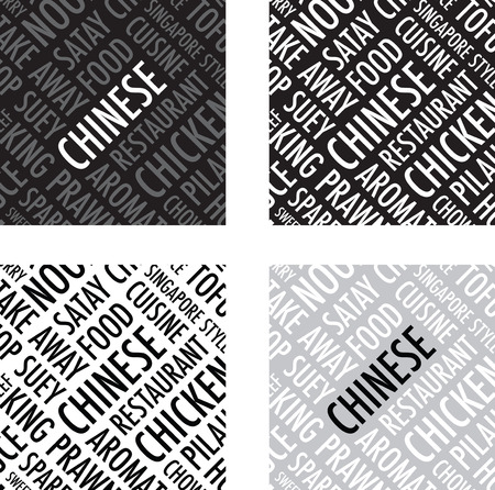 spare ribs: chinese square background set