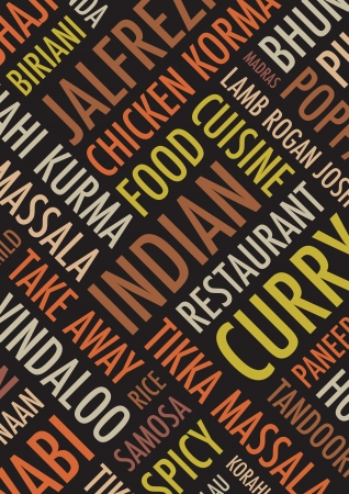 curry rice: indian colourful  background Illustration
