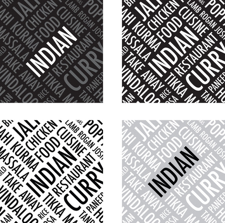 chicken rice: indian square background set Illustration