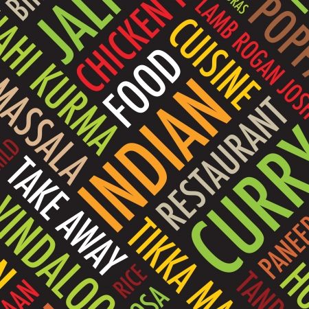 curry rice: indian menu colourful square background  Illustration