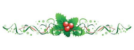 クリスマス ヒイラギ バナー  イラスト・ベクター素材