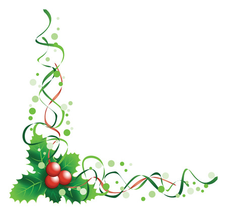christmas holly corner Vector
