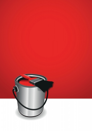 painter and decorator: red paint background Illustration