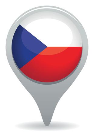 flag pin: czech flag pointer Illustration