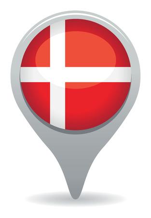 flag pin: denmark flag pointer Illustration