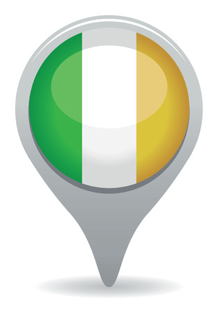 ireland map: ireland flag pointer