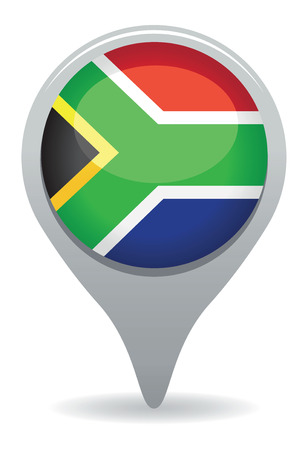 south africa map: south african flag pointer Illustration